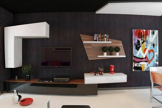 Black: Create a dramatic and beautiful space Black Living Room With Colorful Painting 940x626  Contact Black Living Room With Colorful Painting 940x626